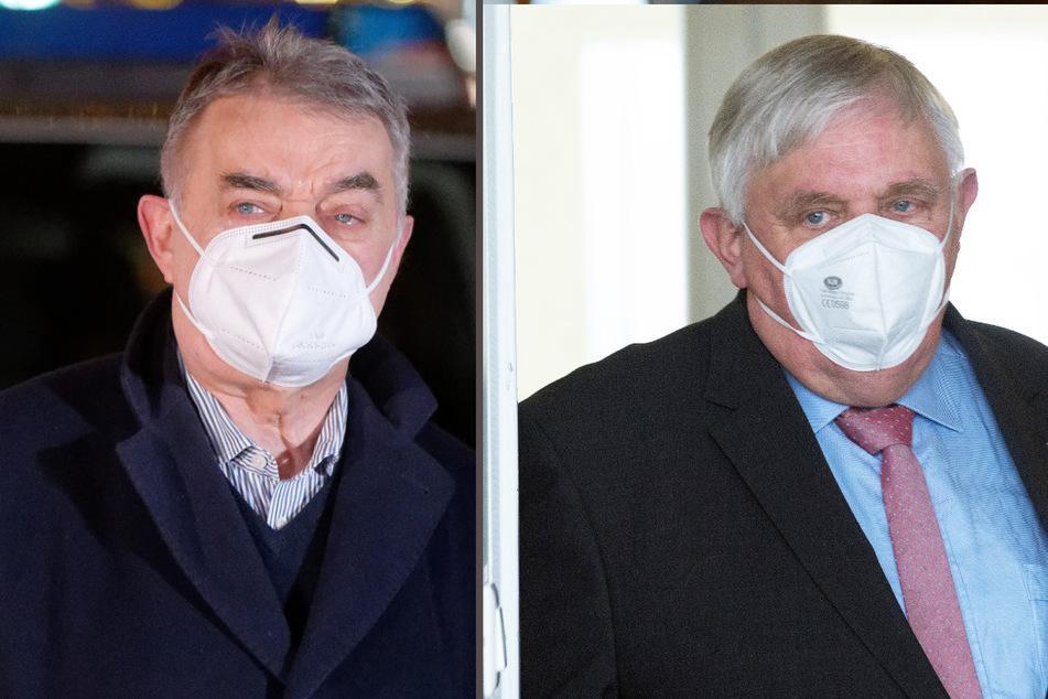 Weil Karl-Josef Laumann (63, r) mit Herbert Reul (68, beide CDU) Kontakt hatte, muss er weiterhin in Quarantäne bleiben. (Fotomontage)