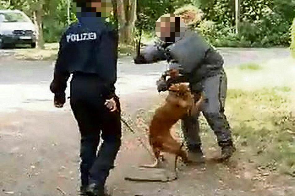 """... sie geht damit zu ihrem Hund, der bereits von einer Beamtin in der Rolle des """"Täters"""" geschlagen wird."""