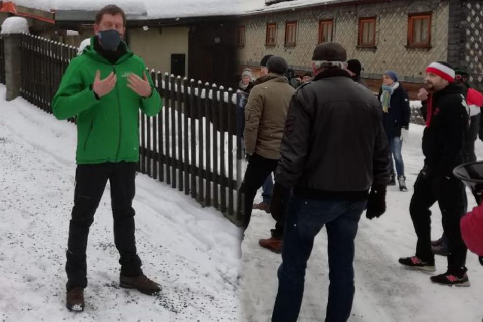 Corona-Leugner belagern Ministerpräsident Kretschmer vor seinem Privathaus!