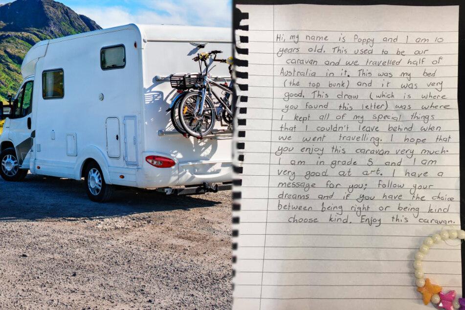 Familie kauft gebrauchten Wohnwagen und findet darin eine Nachricht, die sie zu Tränen rührt