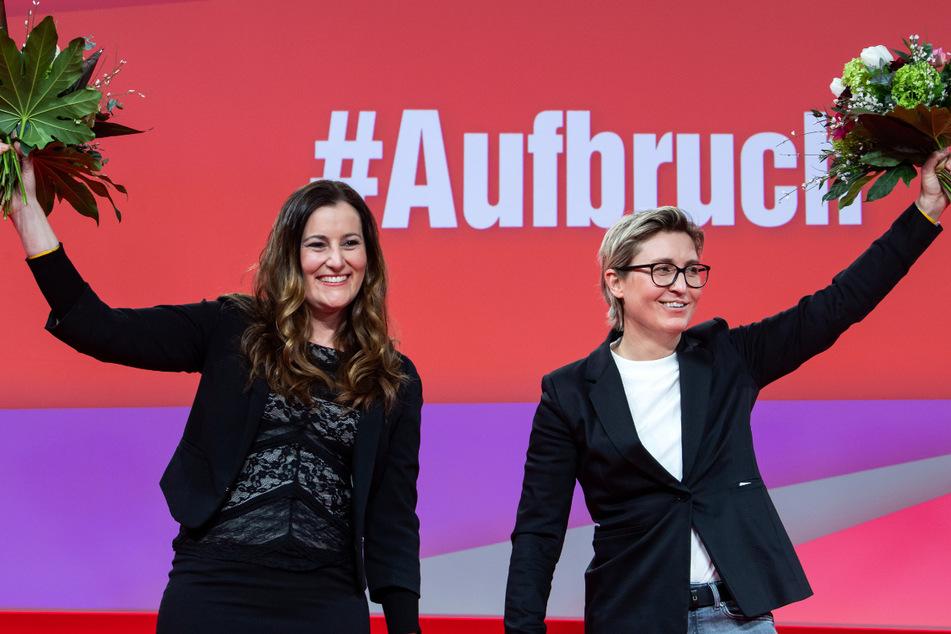 Janine Wissler (39, l.) und Susanne Henning-Wellsow (43, r.) sind das neue Führungsduo der Linken. Die Wahl stößt nicht bei allen auf Freude.