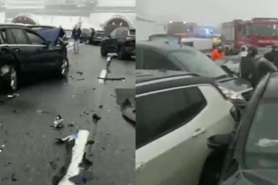 Massen-Karambolage auf spiegelglatter Autobahn: Ein Toter, Menschen in Panik