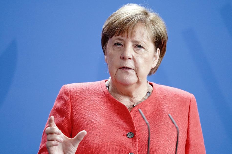 Berlin: Bundeskanzlerin Angela Merkel (CDU) gibt im Kanzleramt eine Pressekonferenz.