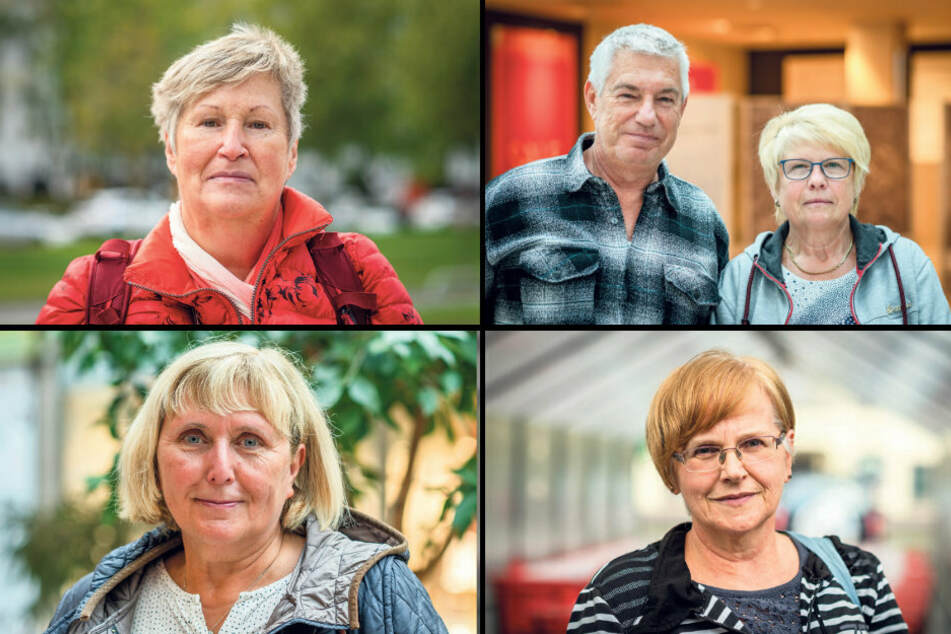 Oben: Jutta Bogun (64, l.) und Marion Mucke (67) und Andreas Schneider (59). Unten: Birgit Praeber (65, l.) und Monika Krumbiegel (67).