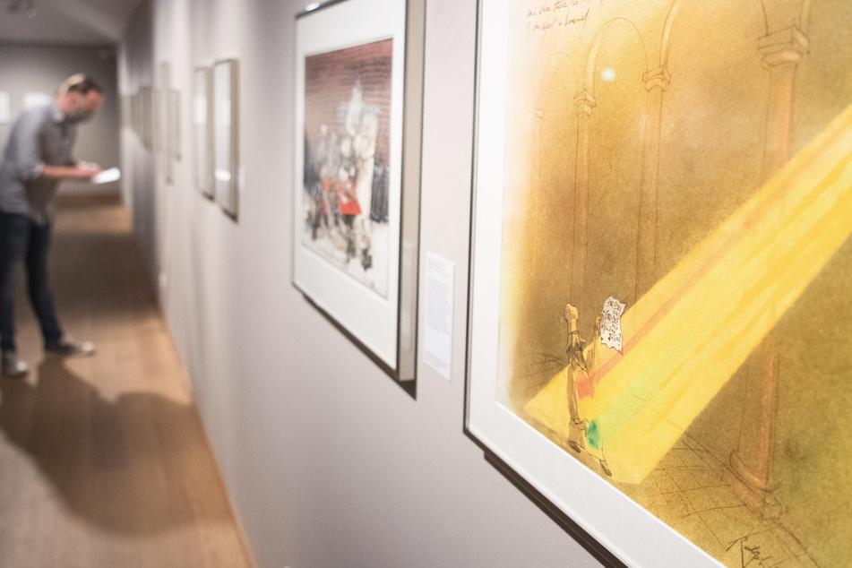 """Das Bild """"Where there be light there can be Hope und where there ist More Light the substance of an object is lessened"""" (1991) von Ralph Steadman hängt im Wilhelm Busch Deutsches Museum für Karikatur & Zeichenkunst."""