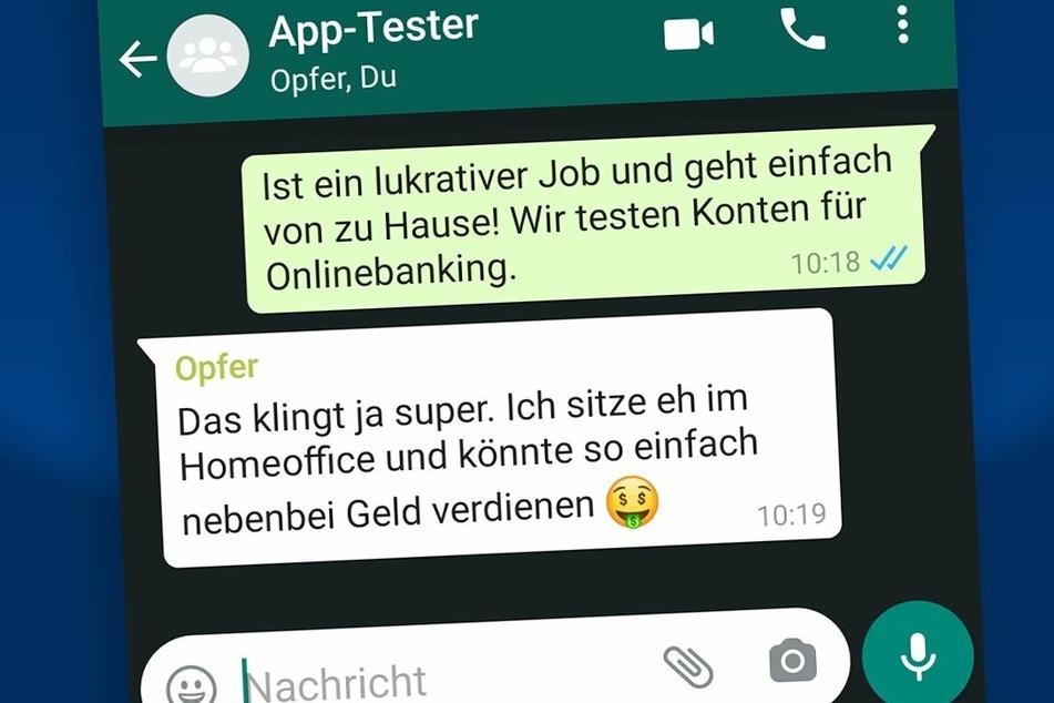 Die Täter kontaktieren die Arbeitssuchenden oftmals über Messenger wie WhatsApp.