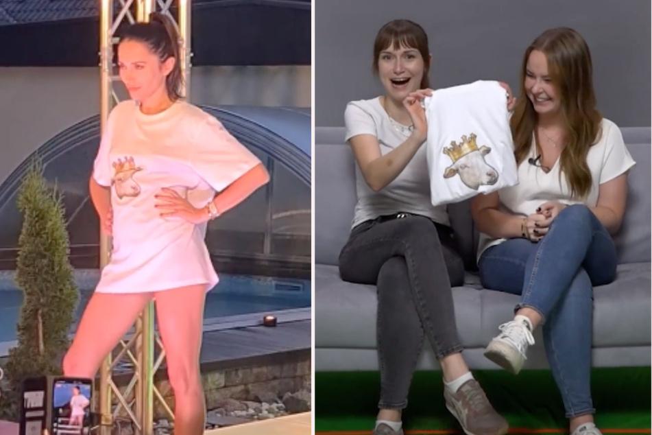 Tessa und Lena präsentieren stolz ihr selbst gestaltetes T-Shirt, das Model Anastasiya Avilova (32) auf dem Berliner Laufsteg getragen hat. (Fotomontage)