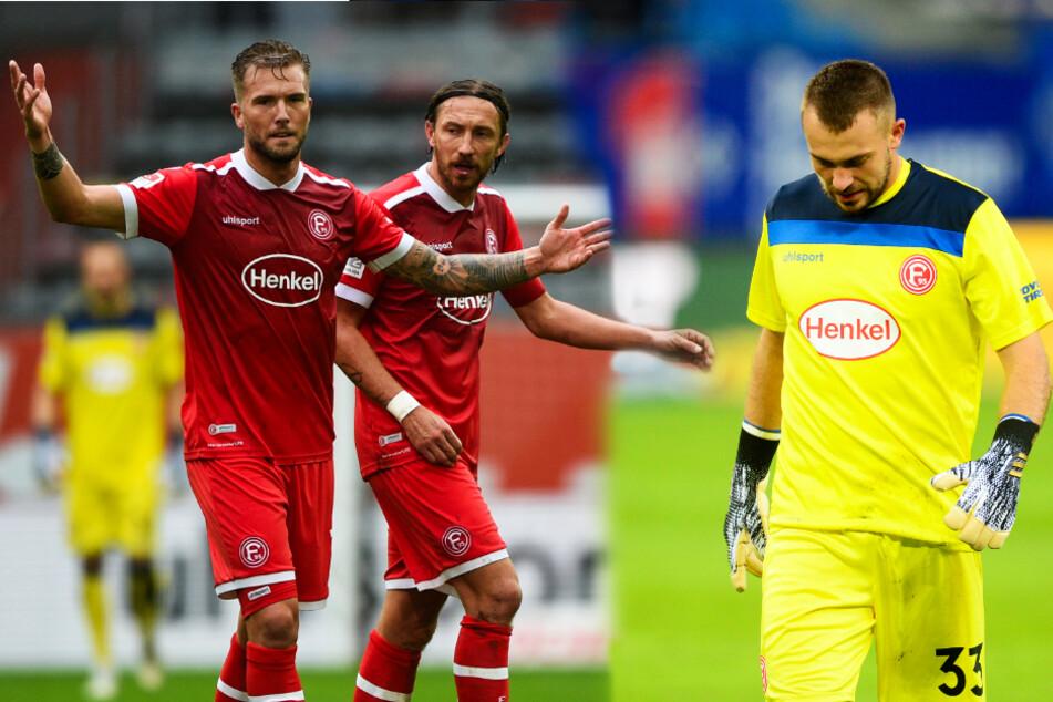 André Hoffmann (l.), Adam Bodzek (M.) und Florian Kastenmeier sind vom enttäuschenden Düsseldorfer Saisonstart alles andere als begeistert.