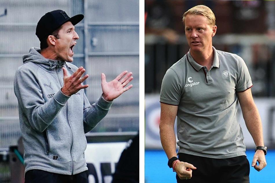 Ingolstadt-Trainer Roberto Pätzold (42, links) und St.-Pauli-Coach Timo Schultz (44) sind gerne aktiv an der Seitenlinie unterwegs.