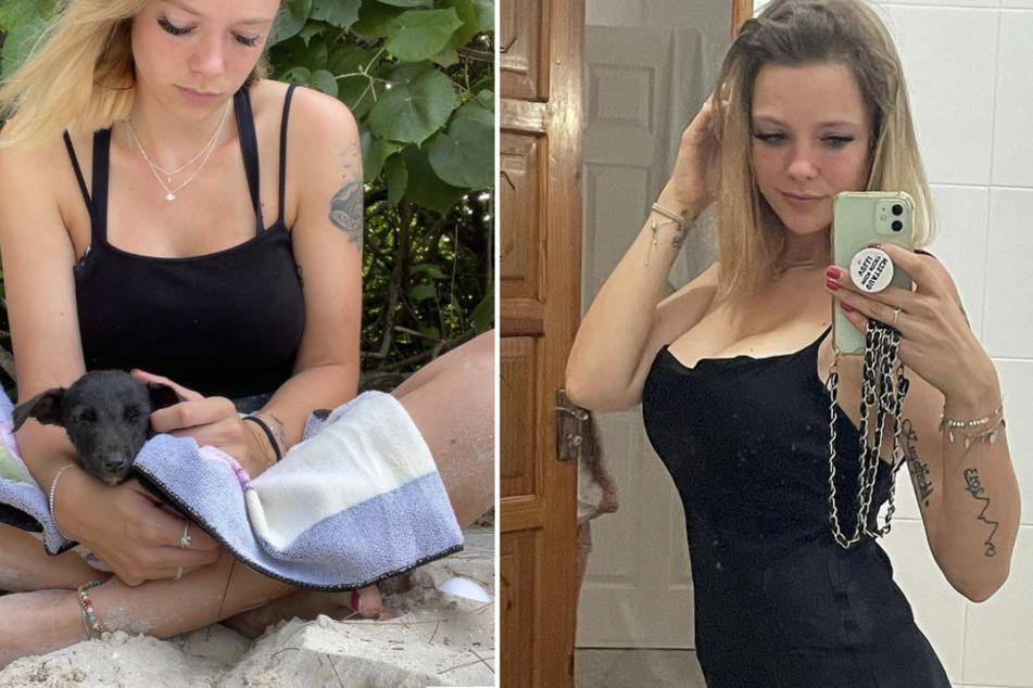 """Anne Wünsche (29) hatte den unterernährten """"Dobby"""" am Straßenrand gefunden."""