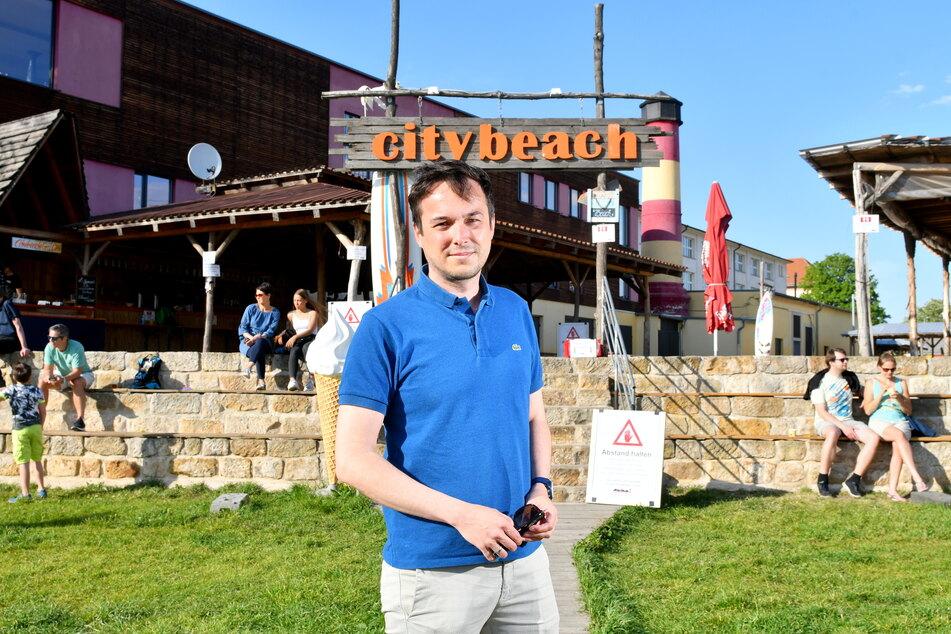 Stadtrat Robert Malorny (40, FDP) hat einen neuen Plan, um den Citybeach zu retten.