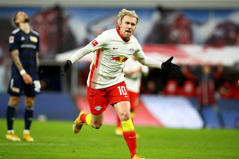 Emil Forsberg erzielte zehn Minuten nach seiner Einwechslung das 1:0 für RB Leipzig.
