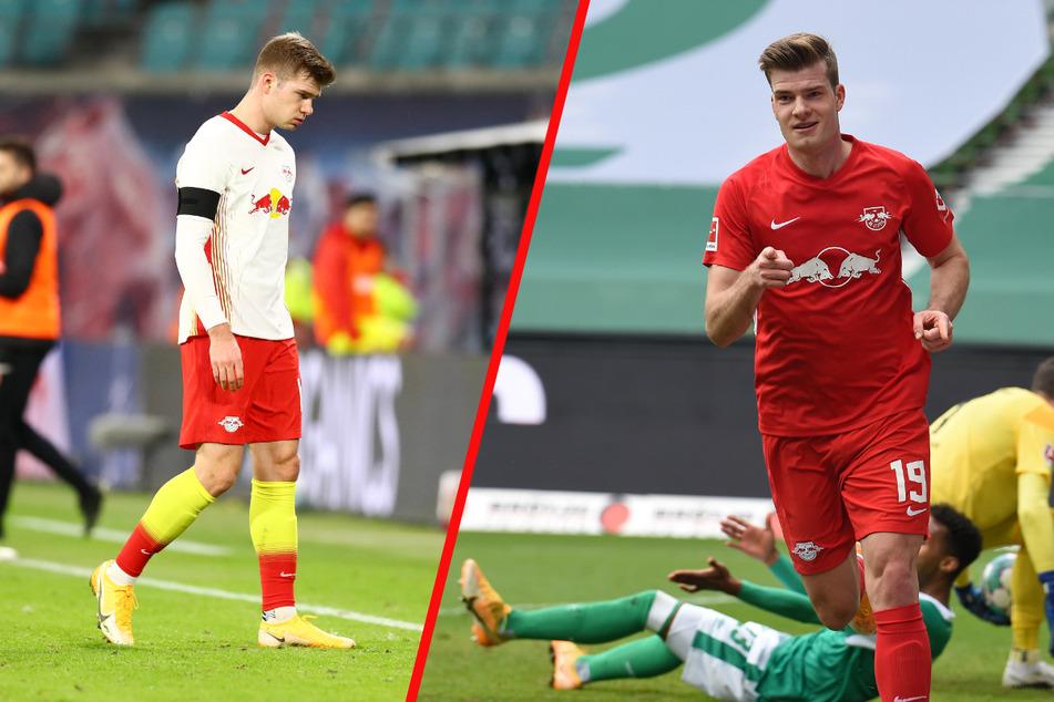 Im Hinspiel gegen Köln konnte Alexander Sörloth (25) RB nicht zu einem Sieg verhelfen. Ob es als frisch gebackener Doppelpacker besser klappt? (Archivbilder)
