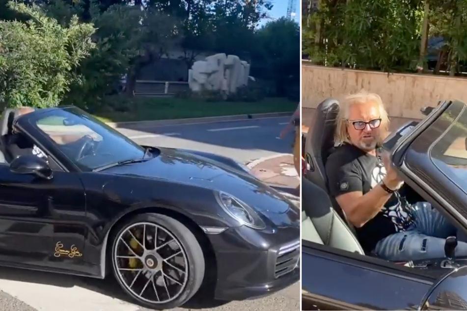 Robert Geiss (57) fährt in einem Instagram-Video mit seinem schicken schwarzen Porsche-Cabrio vor.