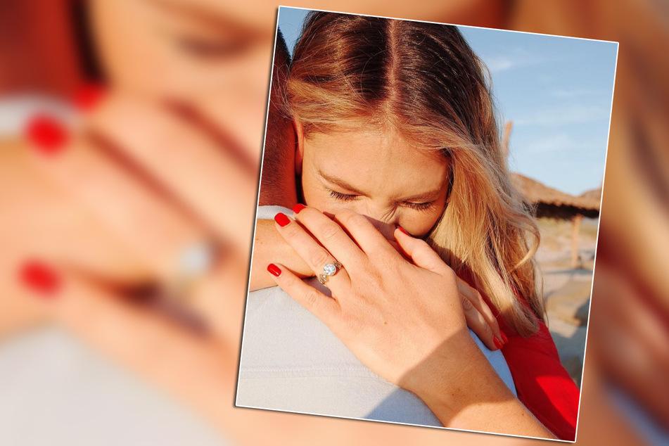 Überglücklich über den Heiratsantrag präsentiert sich Viviane Geppert (30) auf Instagram.