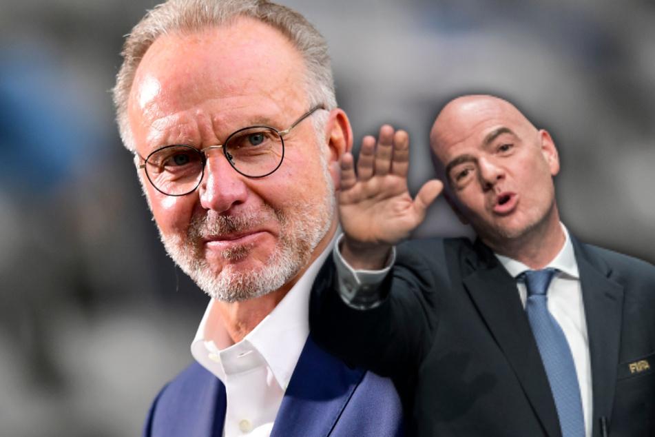 FIFA-Präsident Gianni Infantino (r, 50) und Bayern-Vorstand Karl-Heinz Rummenigge (64) kennen sich schon lange. (Bildmontage)