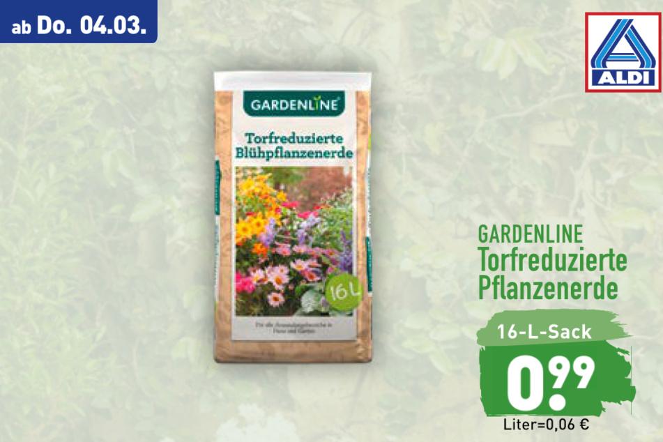 Torfreduzierte Blühpflanzenerde von Gardenline ab Donnerstag für 0,99 Euro bei ALDI in Genthin