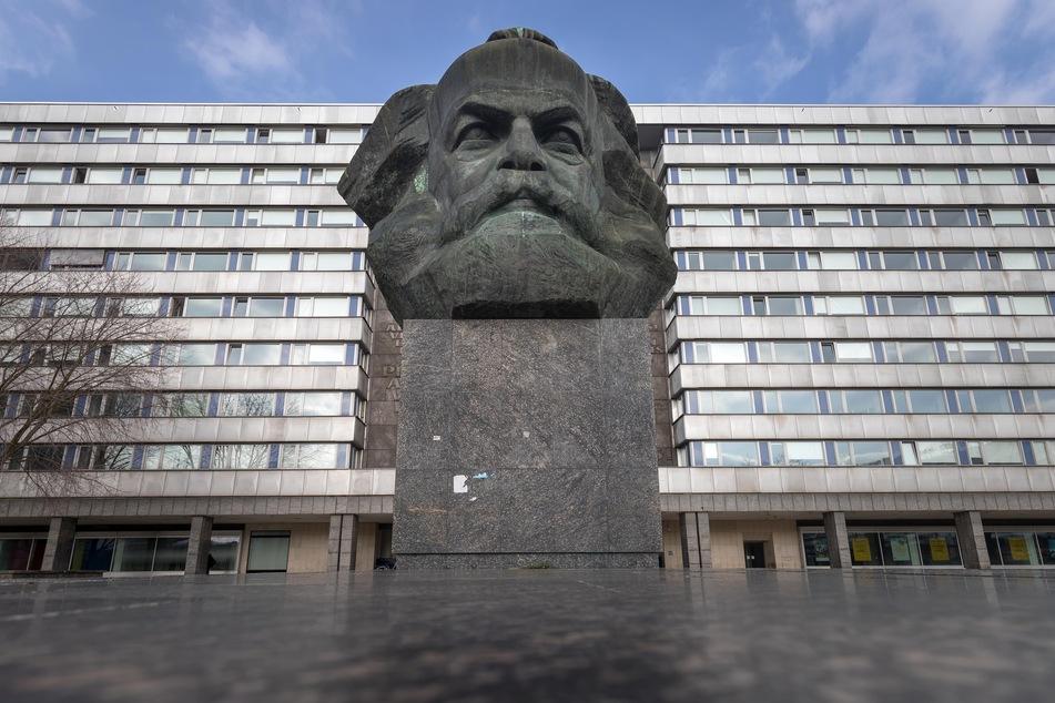"""Hier sollte der """"letzte Raketenstart"""" stattfinden: Am Karl-Marx-Kopf in Chemnitz."""