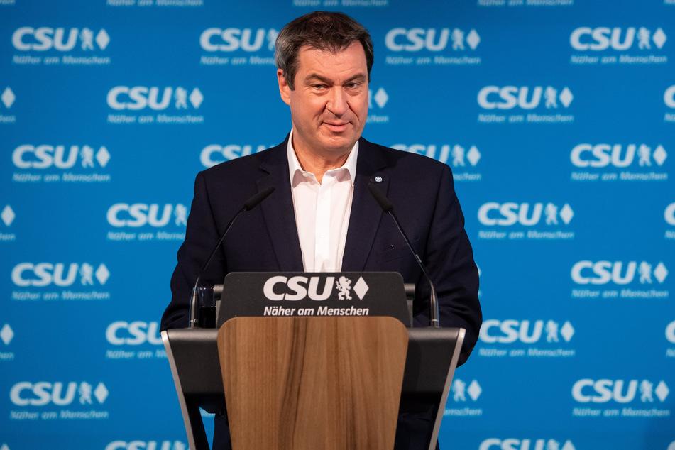 Markus Söder, CSU-Vorsitzender und Ministerpräsident von Bayern, gibt ein Statement in der Parteizentrale. (Archivbild)