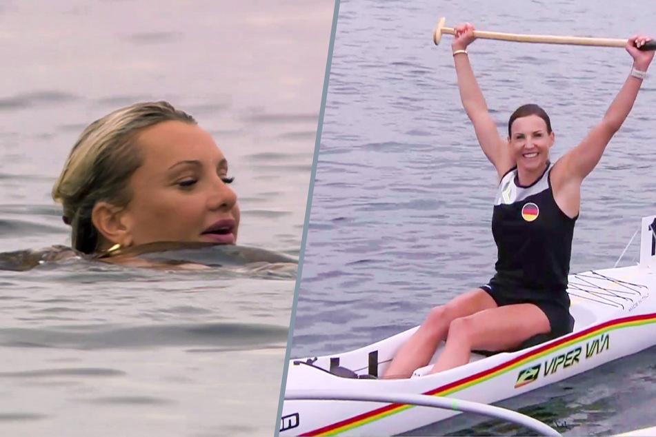 """Kanu-Sprint über 200 Meter: Sabrina """"Mocki"""" Mockenhaupt (40, r.) freut sich über Gold. """"Konkurrentin"""" Evelyn Burdecki (31) erreicht das Ziel dagegen ohne ihr Sportgerät."""