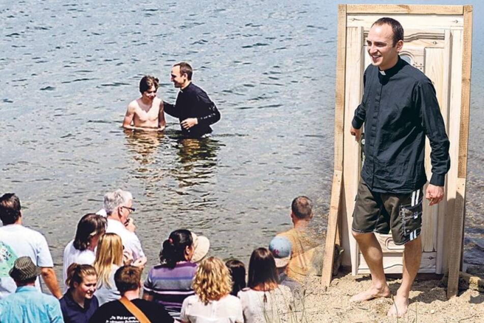 In Badehose: Hier tauft ein Pastor seine Schäfchen im See