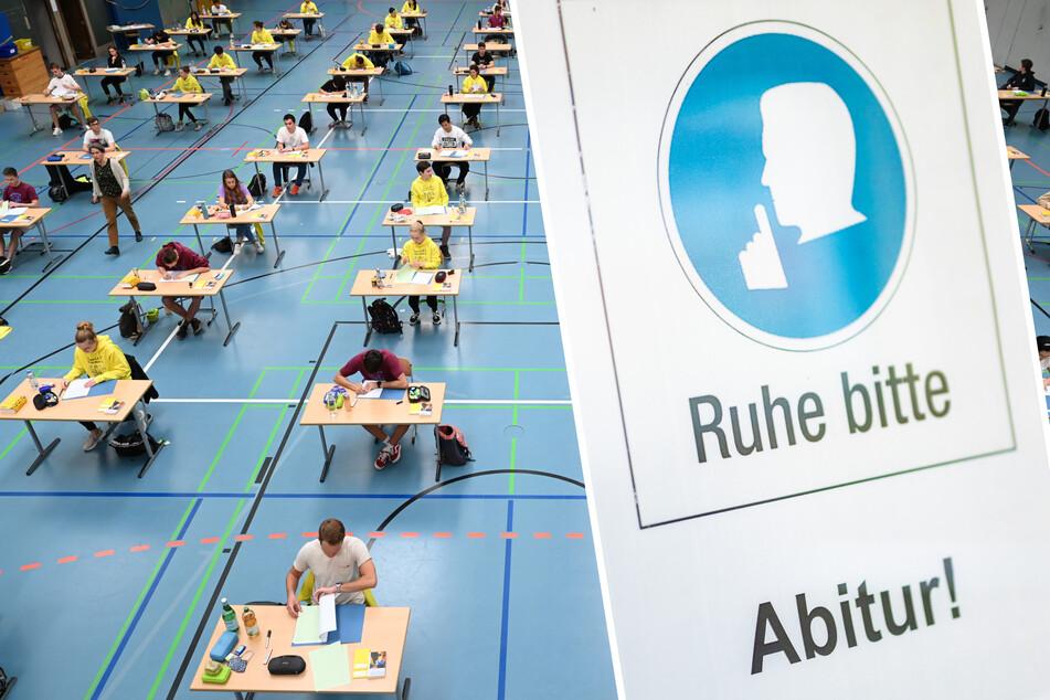 Schüler und Schülerinnen saßen 2020 während der Deutsch-Abiprüfung mit dem vorgeschriebenen Abstand zueinander in einer Sporthalle. Für mehr als 10.000 Abiturienten in Sachsen beginnen am Freitag die Prüfungen.