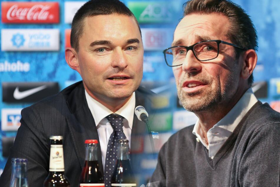 Hertha-Manager Michael Preetz und Investor Lars Windhorst bei der Pressekonferenz nach dem Klinsmann-Rücktritt (Bildmontage).