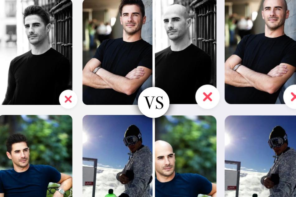 Christian (29) agierte als Testperson und erstellte gleich zwei Dating-Profile: eins mit seiner natürlichen Glatze und eins mit einer braunen Kurzhaarfrisur.