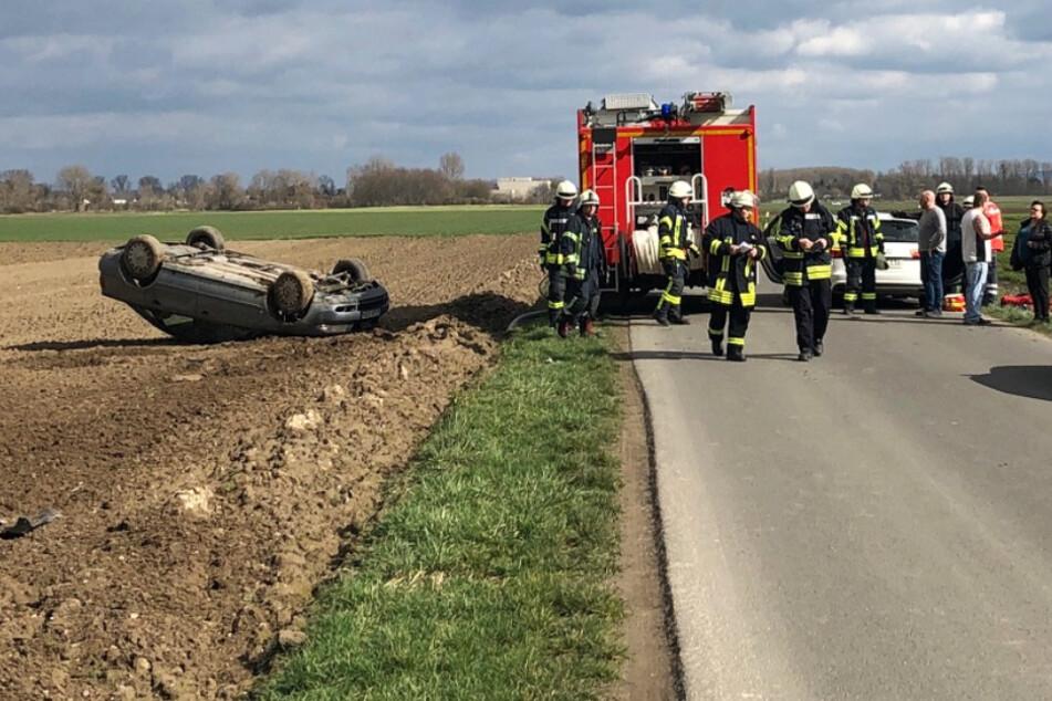 Die Aufnahme zeigt den Unfallort bei der Gemeinde Eich nordöstlich von Worms.