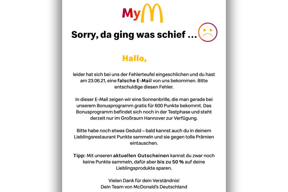 """McDonald's entschuldigte sich für den voreiligen Versand der """"My McDonald's""""-Mitglieder-E-Mail."""