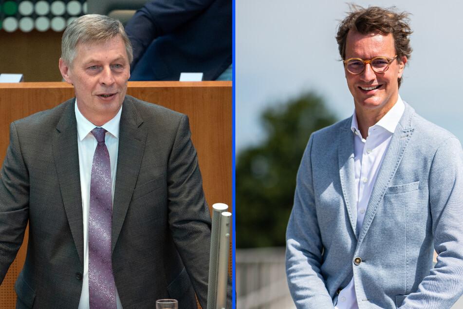 Unter anderem könnten die CDU-Politiker Bodo Löttgen (l.,62) und Hendrik Wüst (45) für den Posten als NRW-Ministerpräsident in Frage kommen. (Fotomontage)