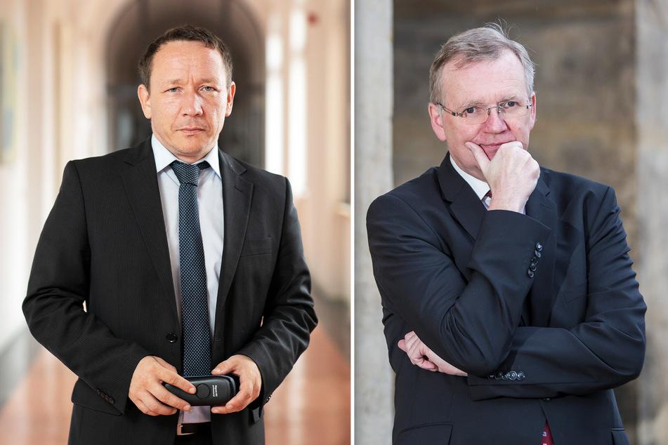 Laut Polizeisprecher Marko Laske (47, l.) passieren die Übergriffe in alltäglichen Situationen. Laut Ordnungsbürgermeister Detlef Sittel (53, CDU) spielen bei den Angriffen häufig Alkohol und Drogen eine Rolle.