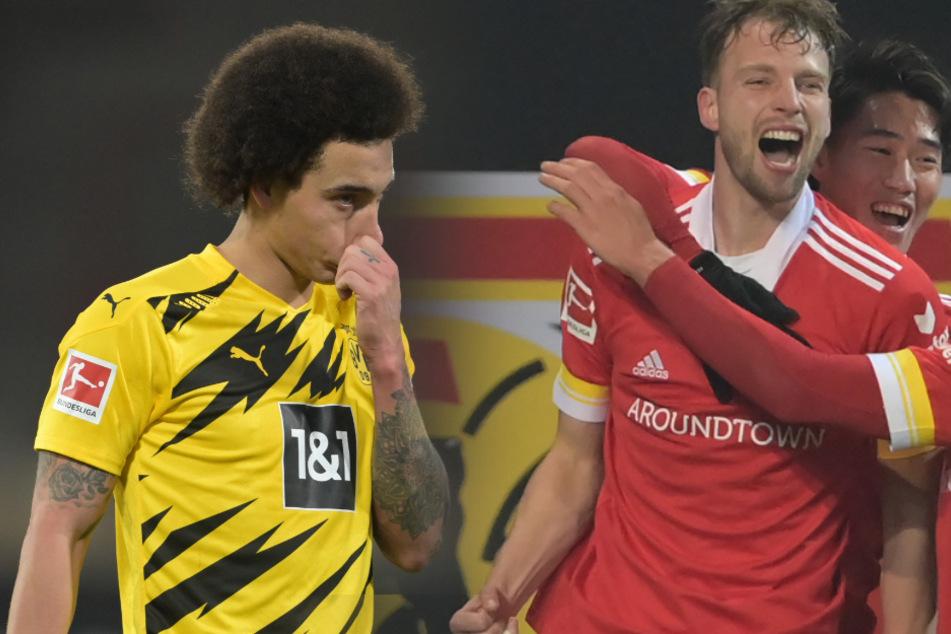 Marvin Friedrich (r.) jubelt über seinen Treffer zum 2:1. Für Dortmunds Axel Witsel ist es bereits die zweite Niederlage an der Alten Försterei.