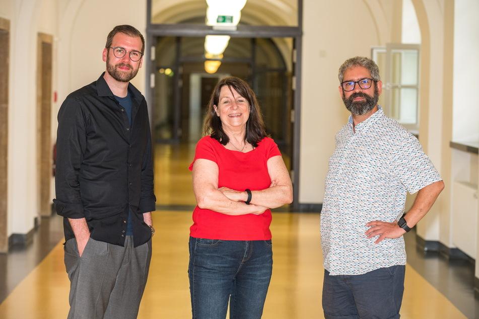 Richard Kaniewski 35 (SPD), Christiane Filius-Jehne (64, Grüne) und Magnus Hecht (49, Linke) wollen einen Nachtbürgermeister in Dresden.
