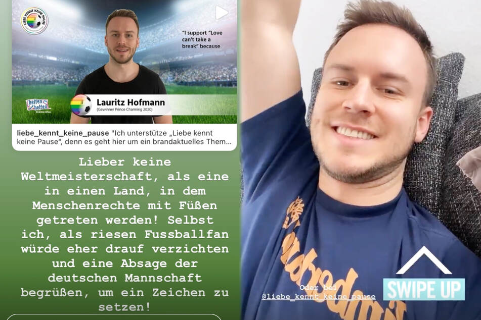 """Flugbegleiter Lauritz Hofmann (28) aus Frankfurt wurde als Gewinner der letzten """"Prince Charming""""-Staffel bekannt. Er unterstützt die Petition """"Liebe kennt keine Pause - gegen Homophobie in Katar""""."""