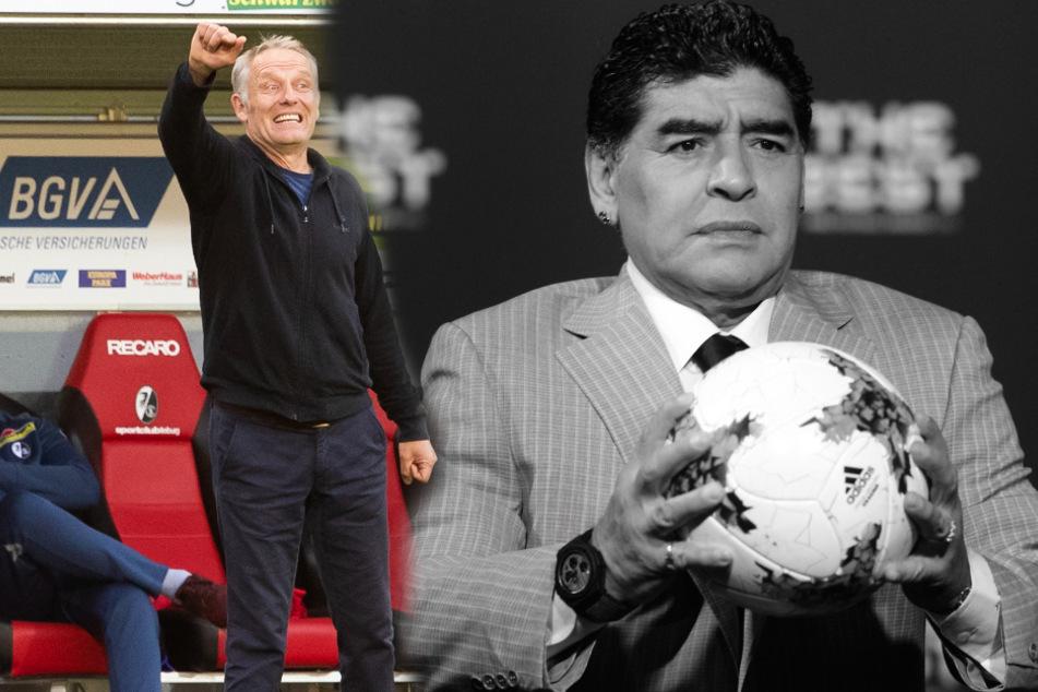 Freiburgs Trainer Christian Streich (55, links im Bild) hat die argentinische Fußball-Legende Diego Maradona (†60) nach dessen Tod in den höchsten Tönen gewürdigt. (Fotomontage)