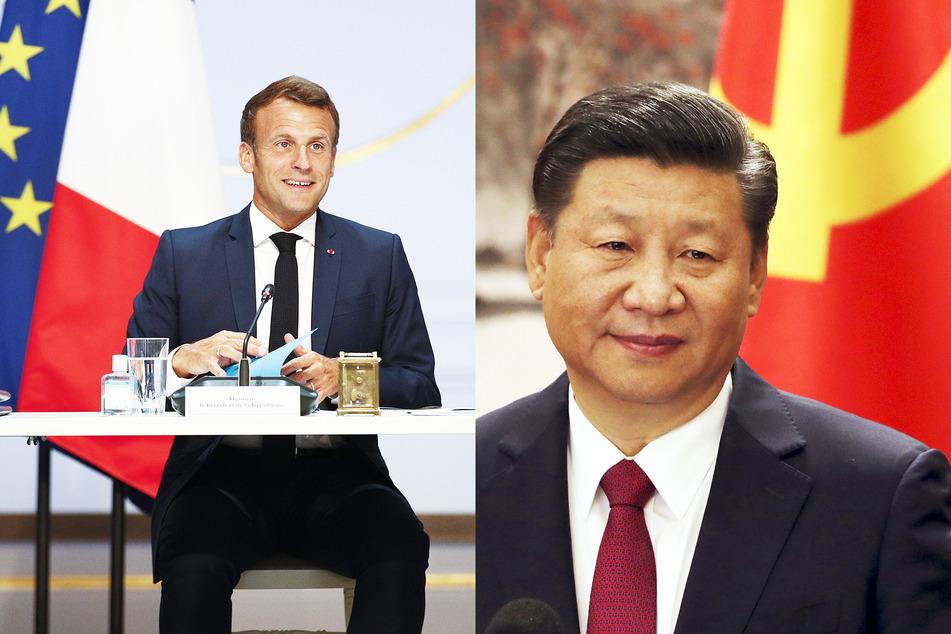 Emmanuel Macron (li.), Präsident von Frankreich, und Xi Jinping, Präsident von China.