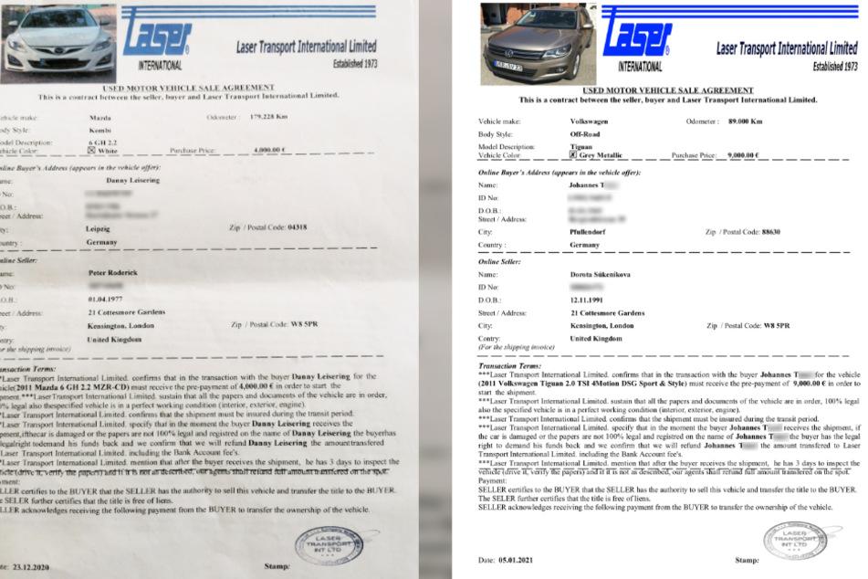 Links die Auftragsbestätigung von Danny Leiserings Mazda, rechts die von Beinahe-Betrugsopfer Johannes T. Die Privatadressen beider Verkäufer sind identisch, auch Stempel und Unterschrift sind exakt an der selben Stelle - wie eine Kopie.