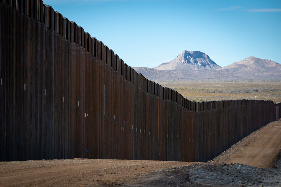 The Trump border wall system near Douglas, Arizona, before flooding destroyed sections of the fencing.