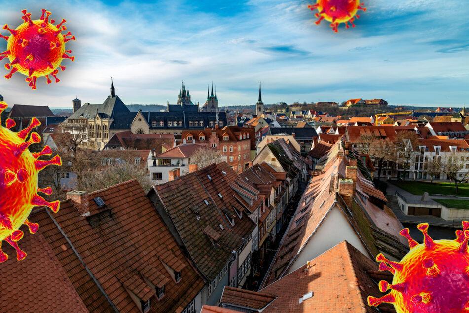 Der Blick über die thüringische Landeshauptstadt Erfurt. Im Freistaat steigt die Corona-Inzidenz leicht (Symbolbild).