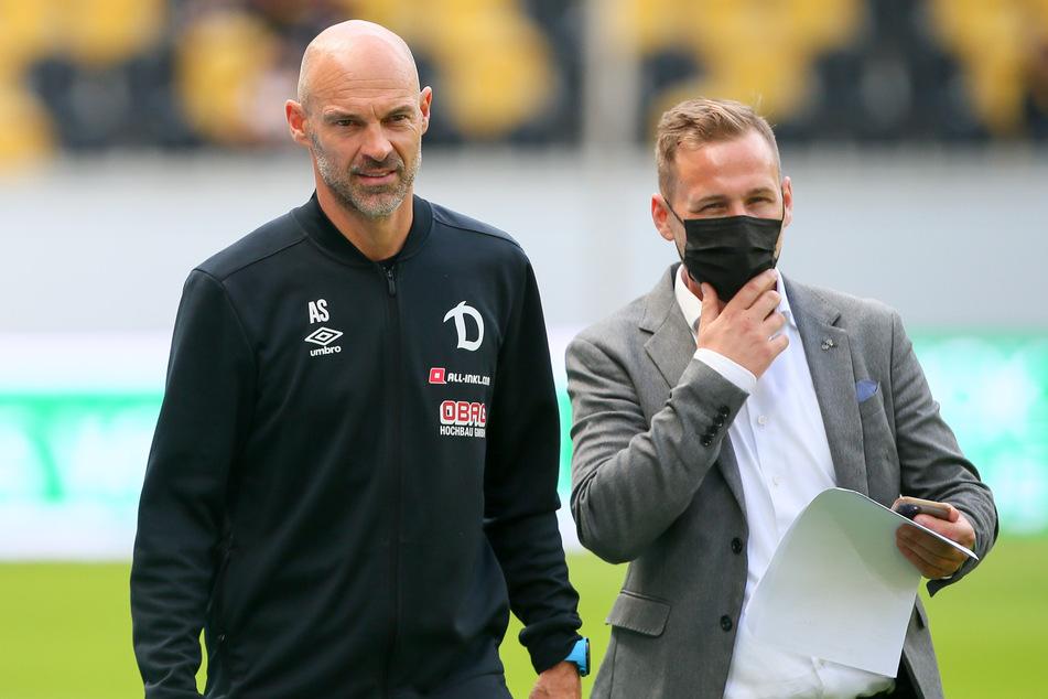 Buschmann leitete die Pressekonferenzen der SGD, auch mit dem aktuellen Trainer Alexander Schmidt (l.).
