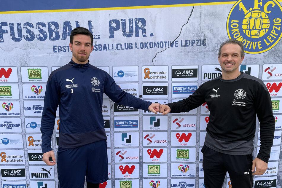 Cheftrainer Almedin Civa (48, rechts) freut sich über die Planungssicherheit mit Mike Eglseder (28).