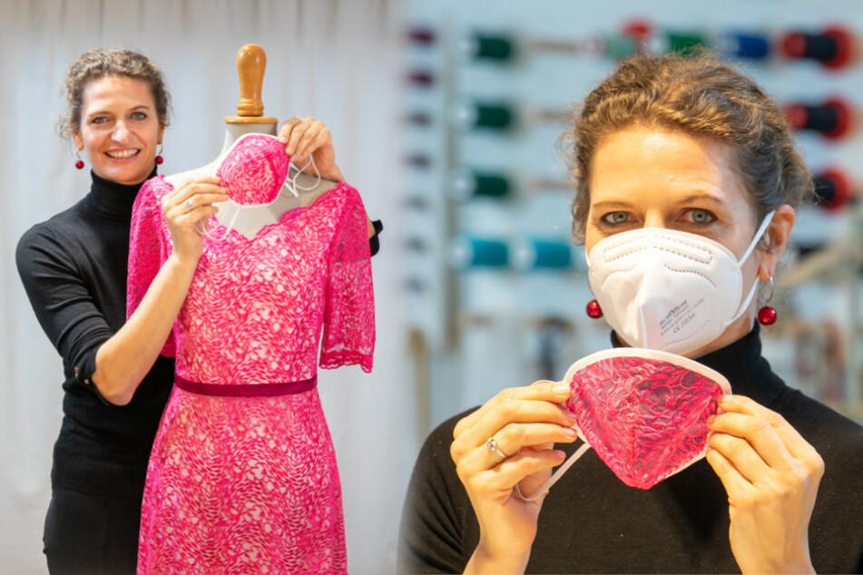 Spitze! Dresdner Designerin macht Überzieher für Masken