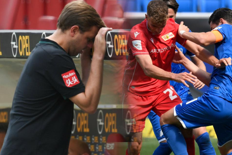 Werder Bremens Trainer Florian Kohfeldt (l.) braucht die Unterstützung von Grischa Prömel (r.) und Co.