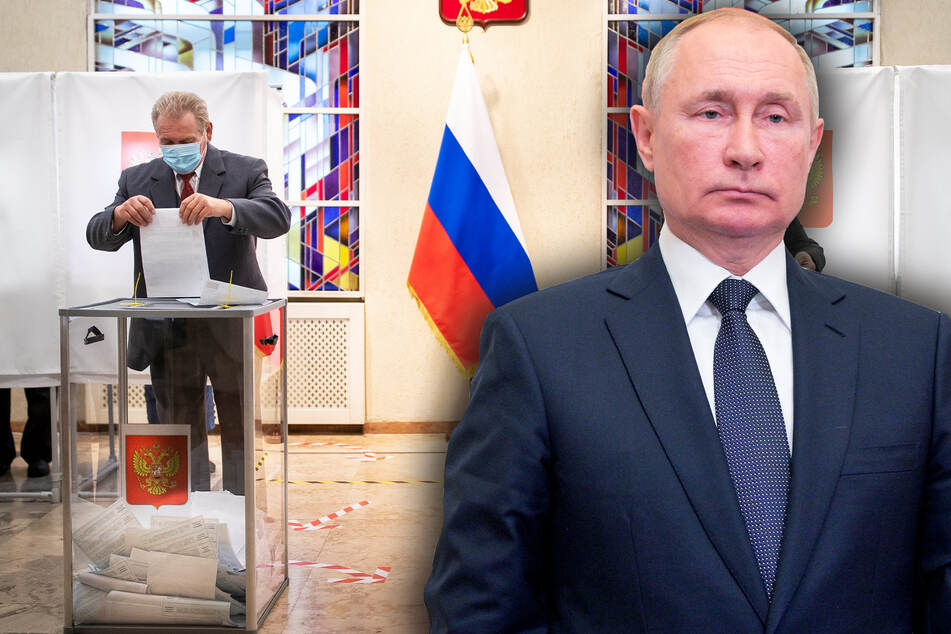 Gerade mal 20 Prozent der Stimmzettel ausgezählt, aber Putin-Anhänger feiern bereits Wahlsieg