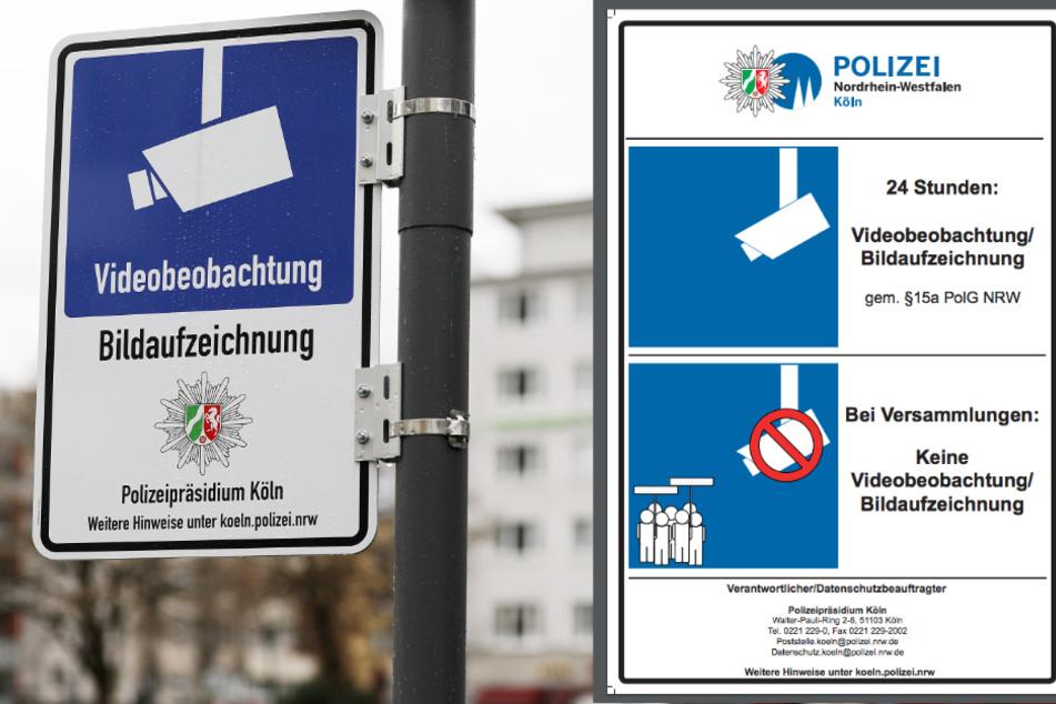 Bislang hängen Schilder wie links am Ebertplatz. Künftig sollen Schilder wie rechts an den überwachten Orten in Köln aufgehängt werden.