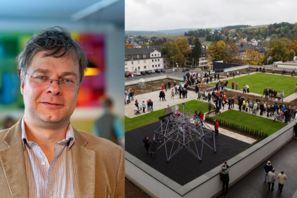 Bürgermeister Marcel Schmidt (Freie Wähler) will Stollberg beruhigen. Auf dem Dach des neuen Einkaufmarkts wartet ein Park.