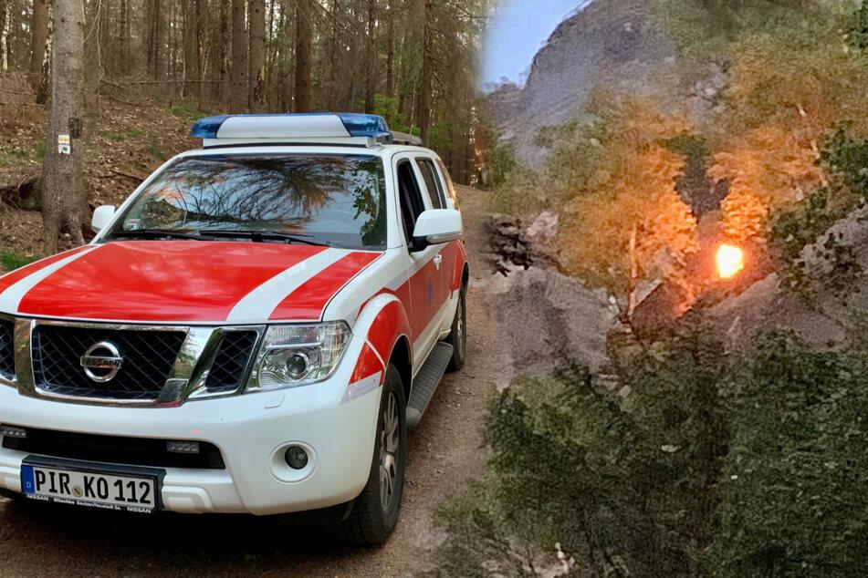 Sächsische Schweiz: Feuer an Schrammstein-Aussicht, Shisha schuld?