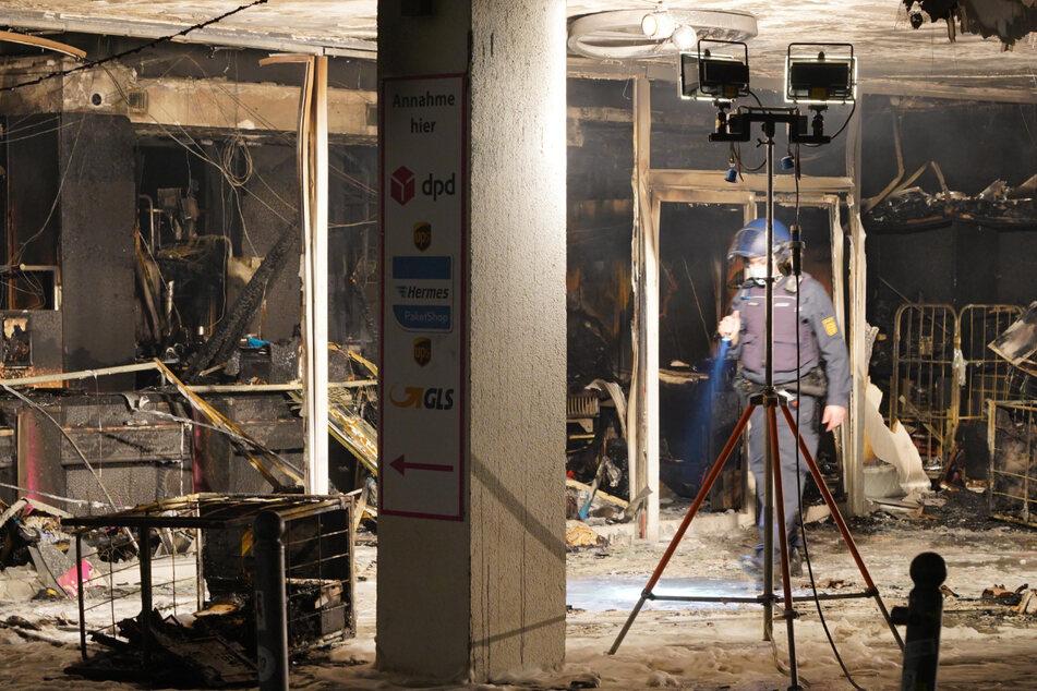 Der Ladenbereich des Traditions-Textilbetriebs Trieb in den Stephanspassagen wurde durch das Feuer vollständig zerstört.