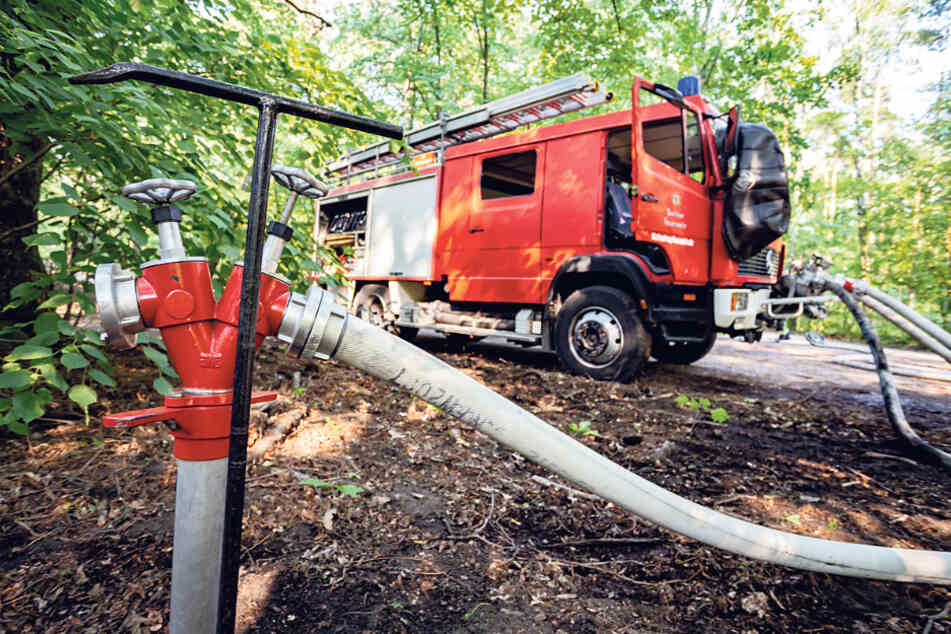 Um den Brand in einem stadtnahen Waldpark zu löschen, entnimmt die Feuerwehr Wasser aus einem Hydranten. In ländlichen Gemeinden ist es teilweise nicht möglich, Hydranten so zu nutzen.
